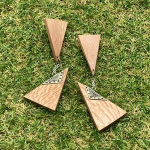 NWT vintage artisan wood triangle silver long drop